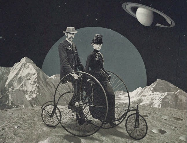 Penny-farthing bicycle on a distant moon CROP