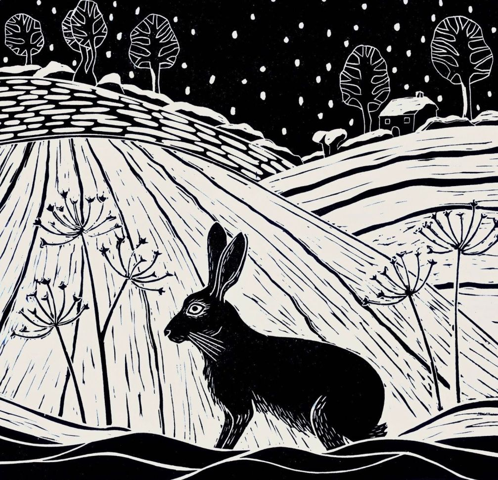12 hares in snow lino prints